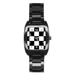 Grid Domino Bank And Black Stainless Steel Barrel Watch