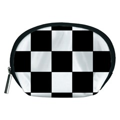 Grid Domino Bank And Black Accessory Pouches (medium)  by Nexatart