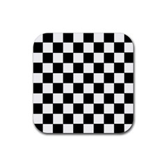 Grid Domino Bank And Black Rubber Coaster (square)