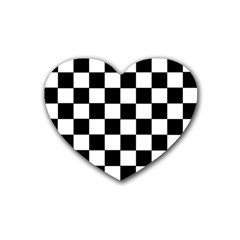 Grid Domino Bank And Black Rubber Coaster (heart)  by Nexatart