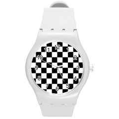 Grid Domino Bank And Black Round Plastic Sport Watch (m) by Nexatart