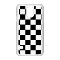 Grid Domino Bank And Black Samsung Galaxy S5 Case (white) by Nexatart