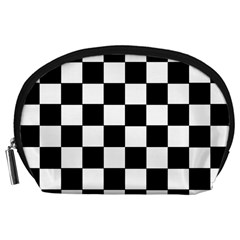 Grid Domino Bank And Black Accessory Pouches (large)