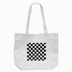 Grid Domino Bank And Black Tote Bag (white)