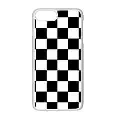 Grid Domino Bank And Black Apple Iphone 7 Plus White Seamless Case by Nexatart