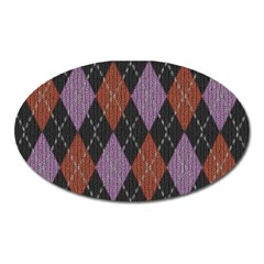 Knit Geometric Plaid Fabric Pattern Oval Magnet