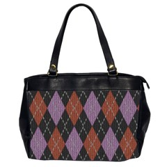 Knit Geometric Plaid Fabric Pattern Office Handbags (2 Sides)  by paulaoliveiradesign