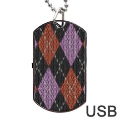 Knit Geometric Plaid Fabric Pattern Dog Tag Usb Flash (two Sides) by paulaoliveiradesign