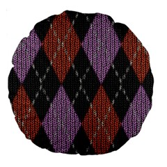 Knit Geometric Plaid Fabric Pattern Large 18  Premium Round Cushions by paulaoliveiradesign