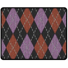Knit Geometric Plaid Fabric Pattern Double Sided Fleece Blanket (medium)  by paulaoliveiradesign