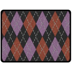 Knit Geometric Plaid Fabric Pattern Double Sided Fleece Blanket (large)  by paulaoliveiradesign