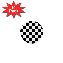 Grid Domino Bank And Black 1  Mini Buttons (10 Pack)