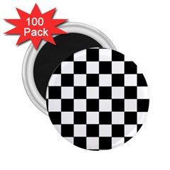 Grid Domino Bank And Black 2 25  Magnets (100 Pack)
