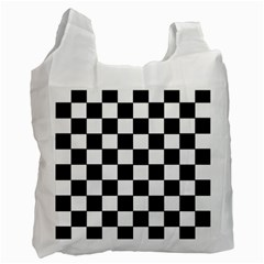 Grid Domino Bank And Black Recycle Bag (two Side)  by Nexatart