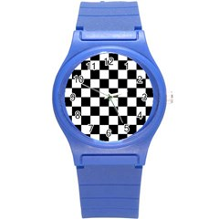 Grid Domino Bank And Black Round Plastic Sport Watch (s) by Nexatart