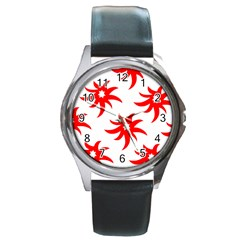 Star Figure Form Pattern Structure Round Metal Watch