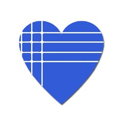 Stripes Pattern Template Texture Blue Heart Magnet