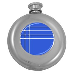 Stripes Pattern Template Texture Blue Round Hip Flask (5 Oz)