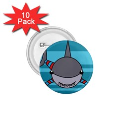 Shark Sea Fish Animal Ocean 1 75  Buttons (10 Pack) by Nexatart