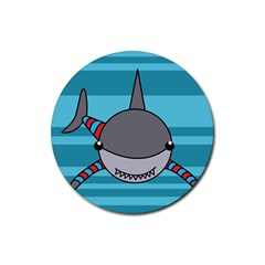 Shark Sea Fish Animal Ocean Rubber Coaster (round)