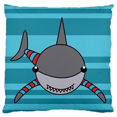 Shark Sea Fish Animal Ocean Large Flano Cushion Case (two Sides) by Nexatart
