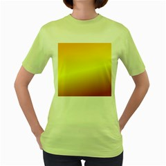 Gradient Orange Heat Women s Green T Shirt
