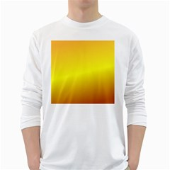 Gradient Orange Heat White Long Sleeve T Shirts