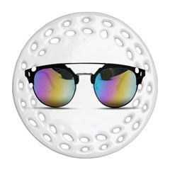Sunglasses Shades Eyewear Round Filigree Ornament (two Sides) by Nexatart