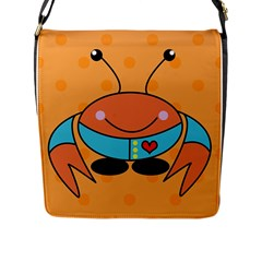 Crab Sea Ocean Animal Design Flap Messenger Bag (l)
