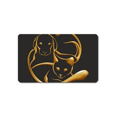 Gold Dog Cat Animal Jewel Dor¨| Magnet (name Card)