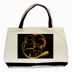 Gold Dog Cat Animal Jewel Dor¨| Basic Tote Bag (two Sides) by Nexatart