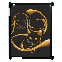 Gold Dog Cat Animal Jewel Dor¨| Apple Ipad 2 Case (black) by Nexatart