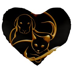 Gold Dog Cat Animal Jewel Dor¨| Large 19  Premium Heart Shape Cushions by Nexatart