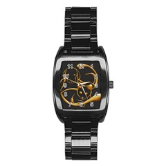 Gold Dog Cat Animal Jewel Dor¨| Stainless Steel Barrel Watch