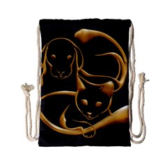 Gold Dog Cat Animal Jewel Dor¨| Drawstring Bag (small)