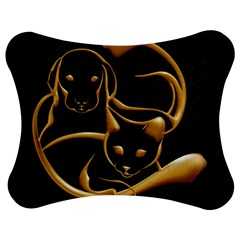 Gold Dog Cat Animal Jewel Dor¨| Jigsaw Puzzle Photo Stand (bow)