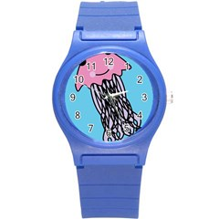 Jellyfish Cute Illustration Cartoon Round Plastic Sport Watch (s) by Nexatart