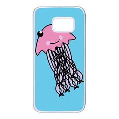 Jellyfish Cute Illustration Cartoon Samsung Galaxy S7 White Seamless Case by Nexatart