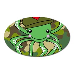Octopus Army Ocean Marine Sea Oval Magnet by Nexatart