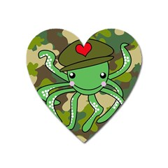 Octopus Army Ocean Marine Sea Heart Magnet by Nexatart