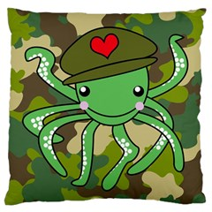 Octopus Army Ocean Marine Sea Large Flano Cushion Case (one Side)