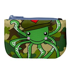 Octopus Army Ocean Marine Sea Large Coin Purse by Nexatart