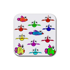 Fish Swim Cartoon Funny Cute Rubber Square Coaster (4 Pack)