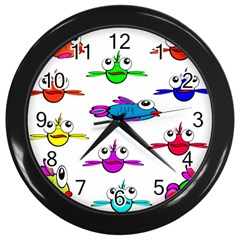 Fish Swim Cartoon Funny Cute Wall Clocks (black)