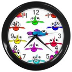 Fish Swim Cartoon Funny Cute Wall Clocks (Black) Front