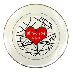 Love Abstract Heart Romance Shape Porcelain Plates by Nexatart
