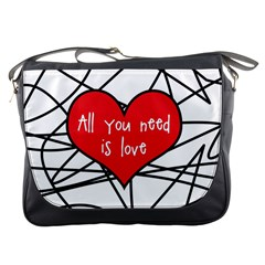 Love Abstract Heart Romance Shape Messenger Bags by Nexatart