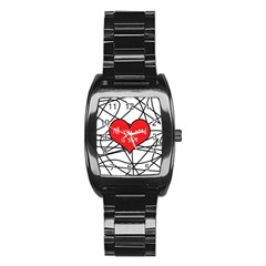 Love Abstract Heart Romance Shape Stainless Steel Barrel Watch by Nexatart