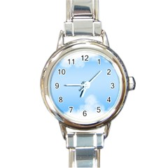 Sky Cloud Blue Texture Round Italian Charm Watch