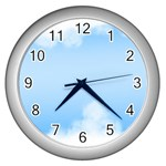 Sky Cloud Blue Texture Wall Clocks (Silver)  Front